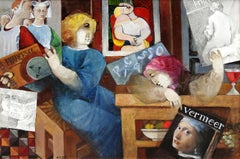"""Homenajes"", Alvar Sunol, Oil on Board, 20x28, Romanesque Modernist"