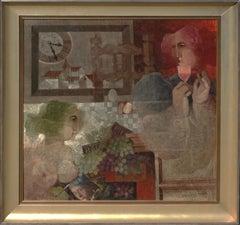 """Horas de Rodigio"", Alvar Sunol, Original, Oil/Canvas, 39x39, Modern Cubist"