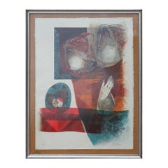 Modern Red and Blue Toned Abstract Embossed Lithograph of Two Figures