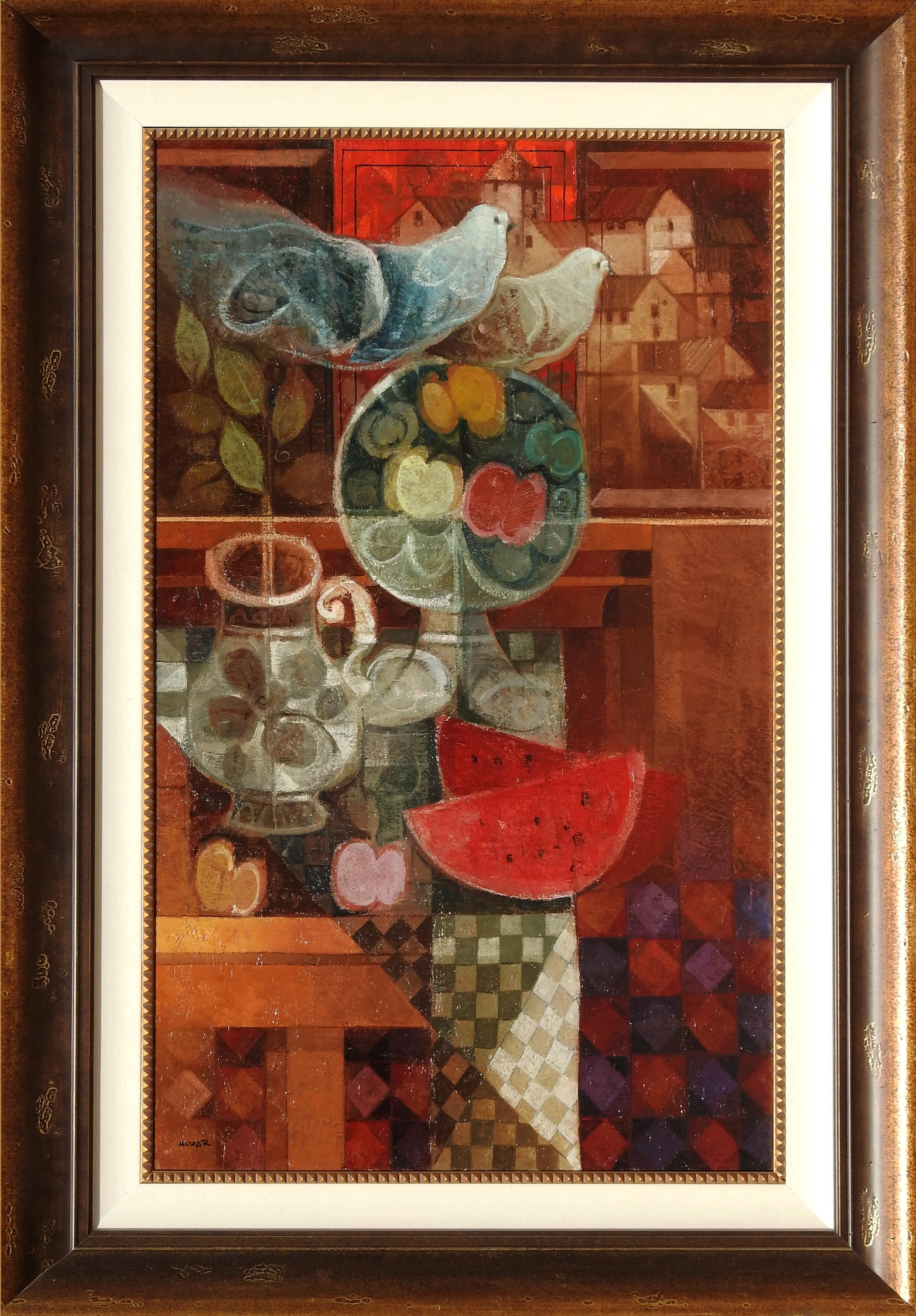 """Naturaleza Muerta con Palomas"", Alvar Sunol, Oil on Canvas, 51x32, Modernist"
