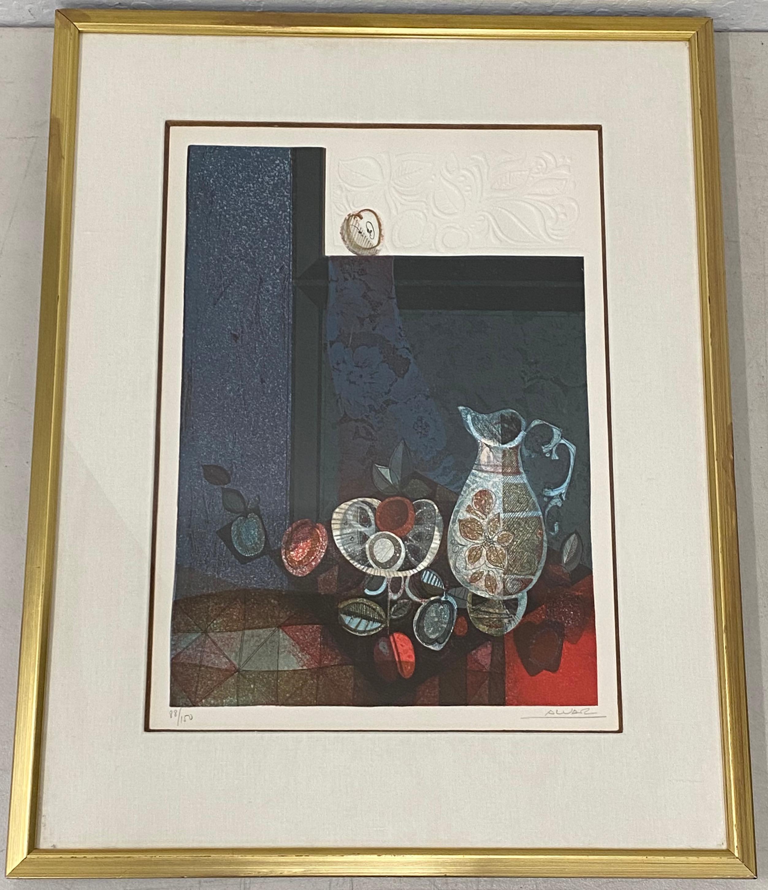Alvar Sunol Embossed Still Life Lithograph C.1970s