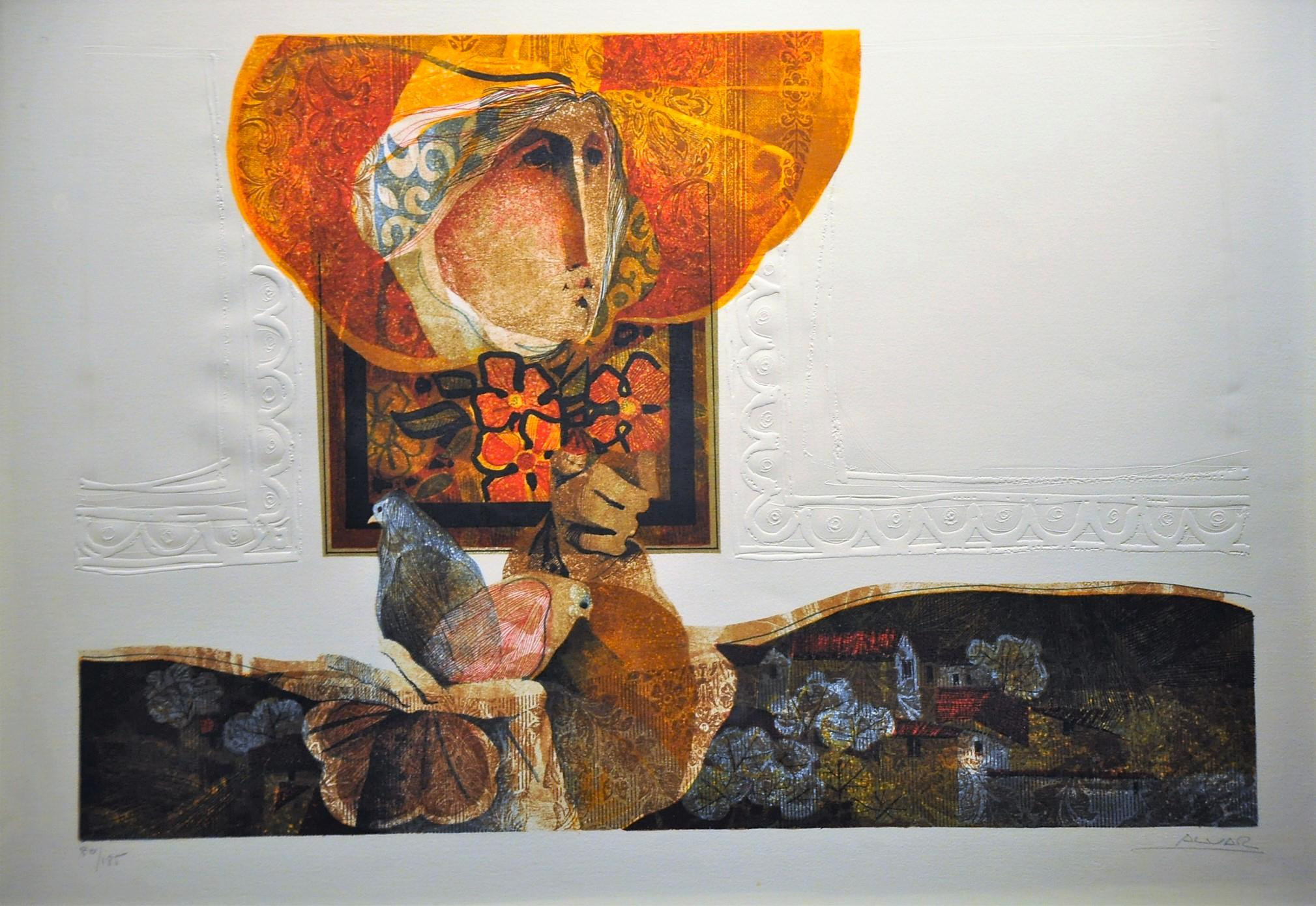 """Alvar Sunol Munoz-Ramos """"Idilico"""", limited edition signed lithograph on paper"""
