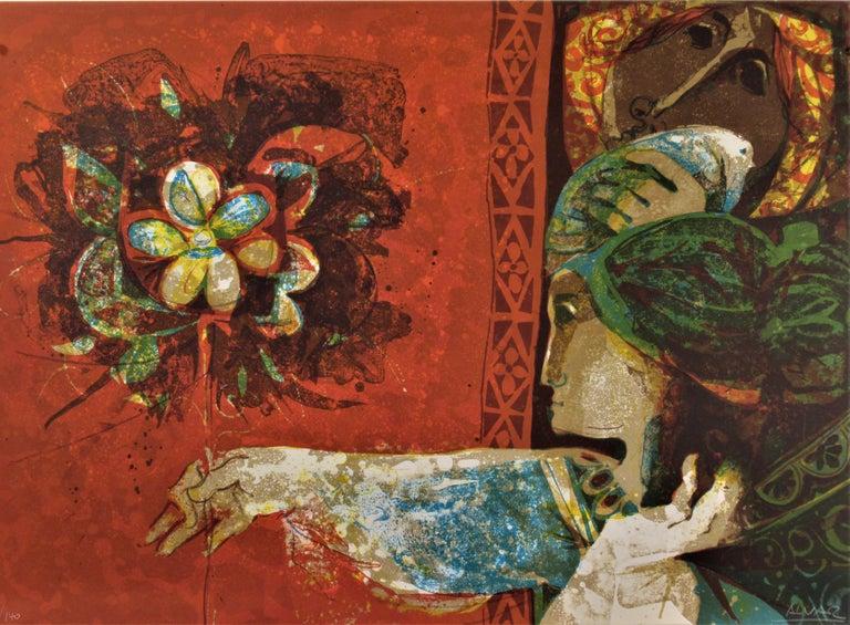Alvar Sunol Munoz-Ramos Figurative Print - La Femme Aux Fleurs Rouges