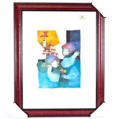 """Limited Edition Signed Sunol Alvar Lithograph """"Flute Player"""""""