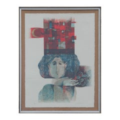 Modern Red and Blue Toned Abstracted Figure Embossed Lithograph