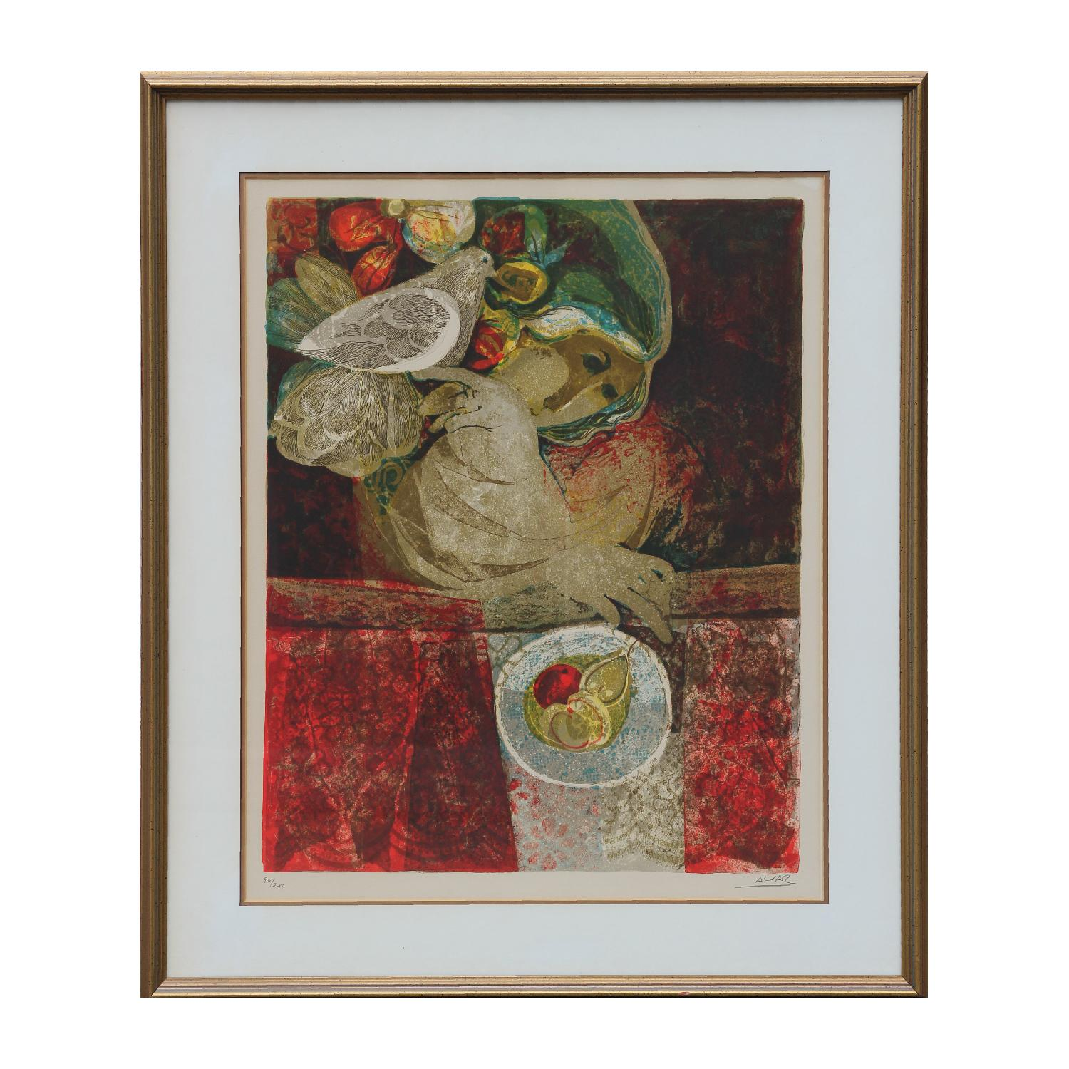 Portrait of a Woman and a Dove Lithograph Edition 80/200