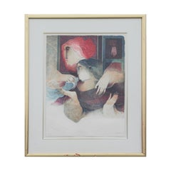 Red Toned Abstract Portrait of Two Female Figures with Bird Lithograph