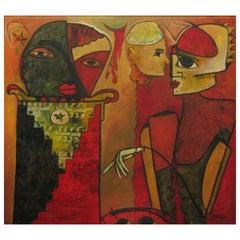 Alvaro Almaguer Cuban Artist Oil on Board Painted in 2000