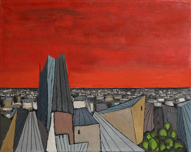Artist: Alvaro Guillot, Uruguayan/American (1931 - 2010) Title: De Rouge sur la Ville Year: 1967 Medium: Oil on Canvas, signed u.r. Size: 24 x 30 inches