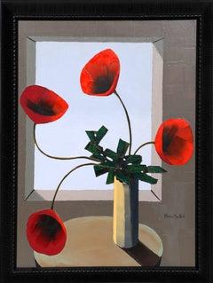 Pot de Fleurs Rouges a la Fenetre, Oil Painting by Alvaro Guillot