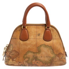 Alviero Martini 1A Classe Brown Geo Print Canvas and Leather Crossbody Bag