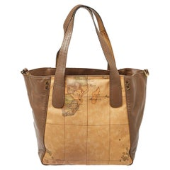 Alviero Martini 1A Classe Brown Leather and Coated Canvas Tote