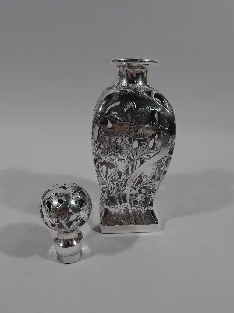 Alvin American Art Nouveau Silver Overlay Decanter In Excellent Condition For Sale In New York, NY