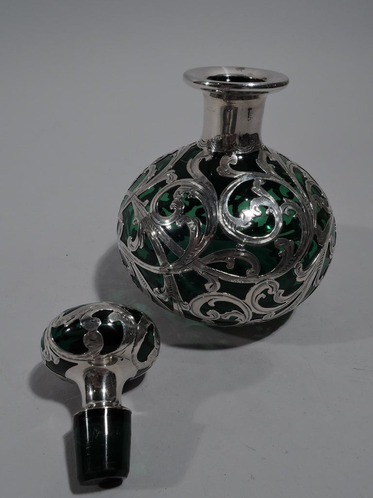 American Alvin Art Nouveau Green Glass Perfume with Silver Overlay For Sale