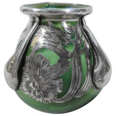 Alvin Art Nouveau Iridescent Green Glass Silver Overlay Bud Vase