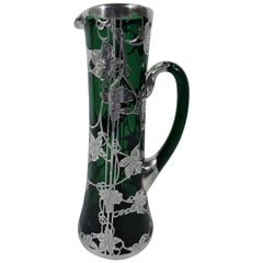 Alvin Tall Art Nouveau Emerald Green Glass and Silver Overlay Claret Jug