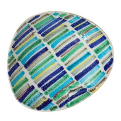 Alvino Bagni Ashtray, Ceramic, Stripes Blue, Green and White, Signed