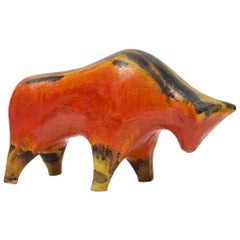 Alvino Bagni Bull, Ceramic, Orange, Red, Yellow and Brown, Signed