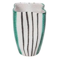 Alvino Bagni Ceramic Vase Green White & Black Stripes, Italy, 1950s