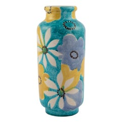 Alvino Bagni for Raymor Aqua Vase with Flowers, circa 1960s