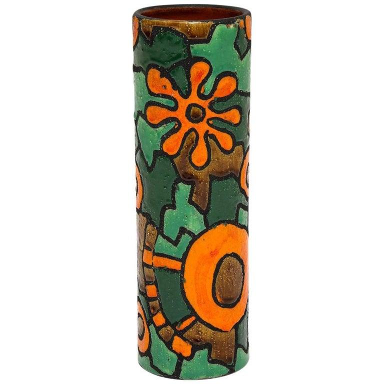 Alvino Bagni for Raymor Vase, Ceramic, Orange, Green, Brown, Signed For Sale