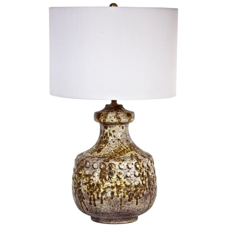 "Alvino Bagni Hand Painted ""Dot"" Drip Glaze Ceramic Lamp, 1950s For Sale"