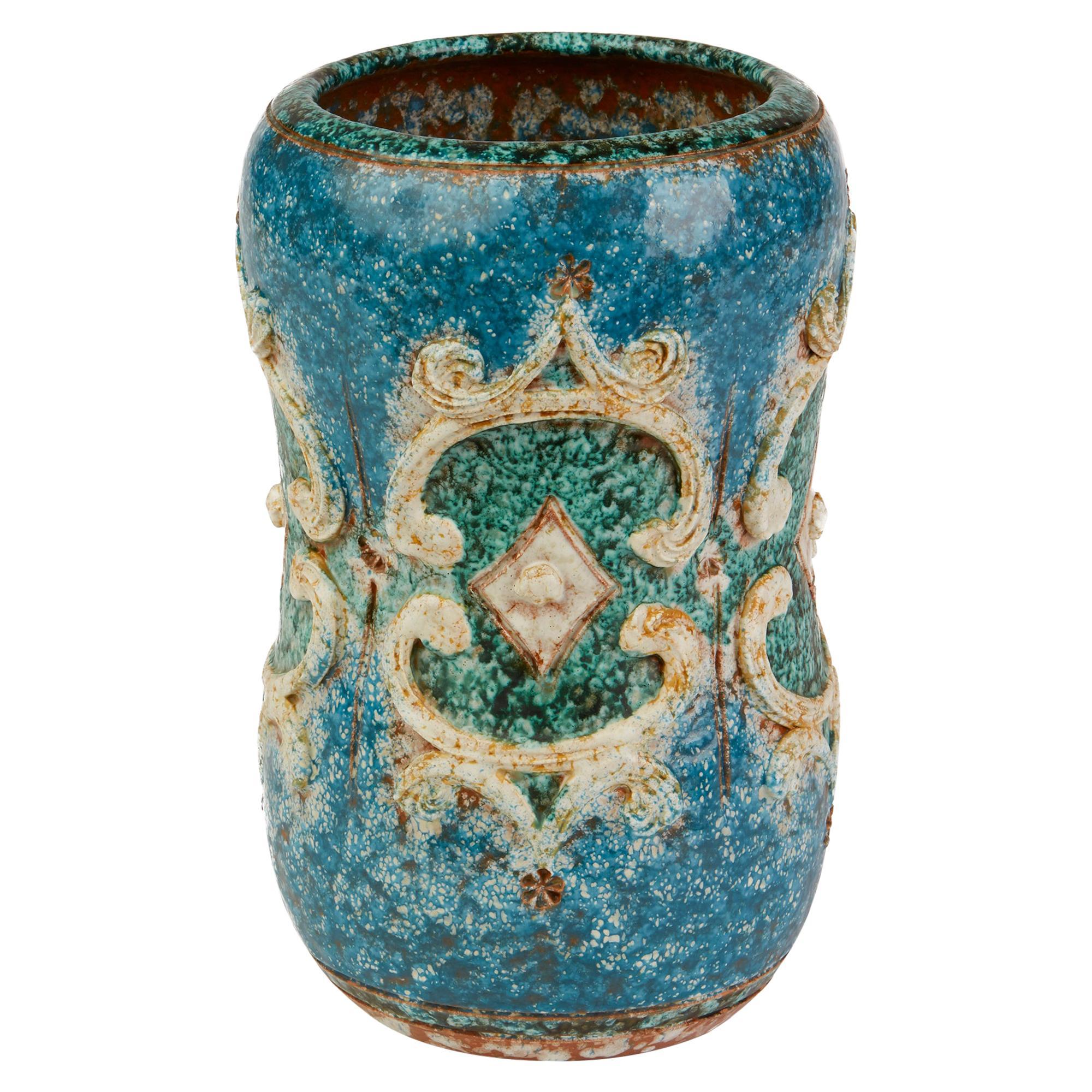 Alvino Bagni Raymor Attributed Unusual Midcentury Italian Art Pottery Vase