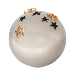 Alvino Bagni Star Vase, Ceramic, Metallic Chrome and Gold, Signed
