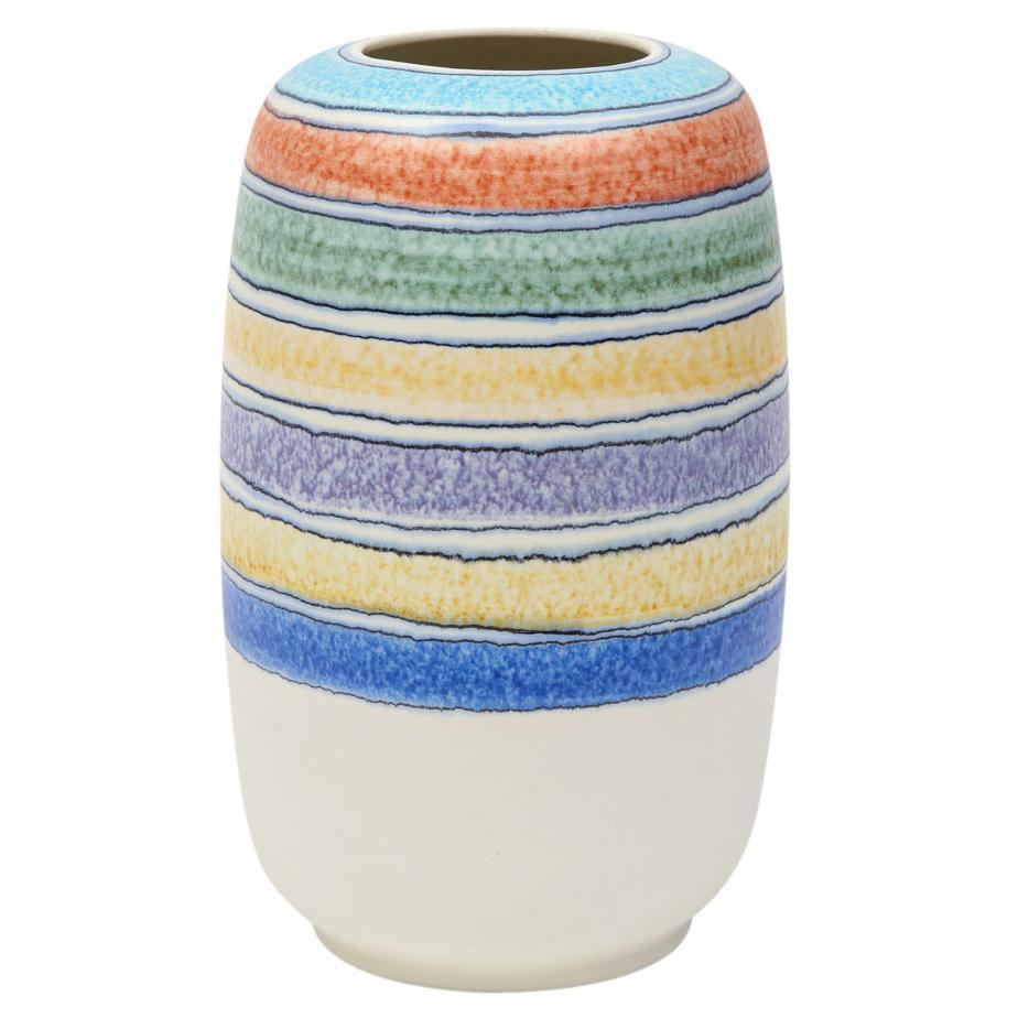 Alvino Bagni Vase for Raymor, Ceramic Stripes, Signed