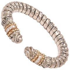 Alwand Vahan Silver Gold and Diamond Flexible Bangle