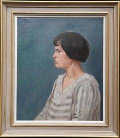 Portrait of 1920's Woman - British Art Deco portrait oil painting female artist