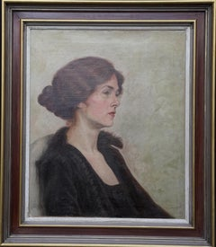 Portrait of a Woman with Auburn Hair - British 20's art female oil painting