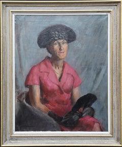 Portrait of Lady with Black Fan - British 1920s art female portrait oil painting