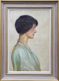 Portrait of Twenties Woman in Green Dress - British art portrait oil painting