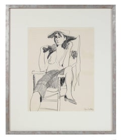 """The Fox Fur"" Seated Modernist Figure in Graphite, 1950s"