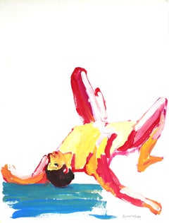 """Male Figure #19"", Colorful Bay Area Figurative Painting with Yellow Pink Blue"