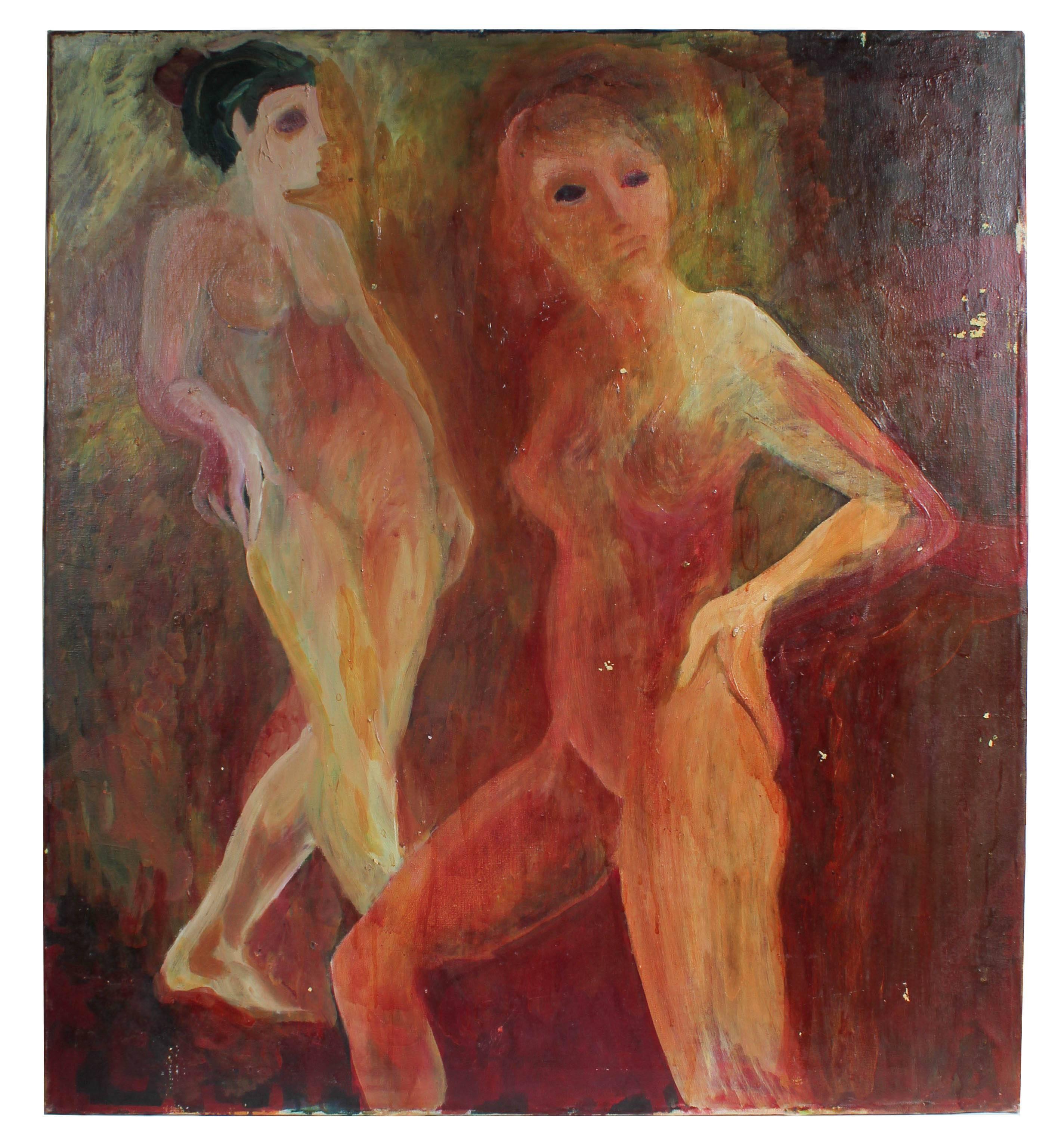 Modernist Nude Figures, Oil on Canvas, Circa 1977