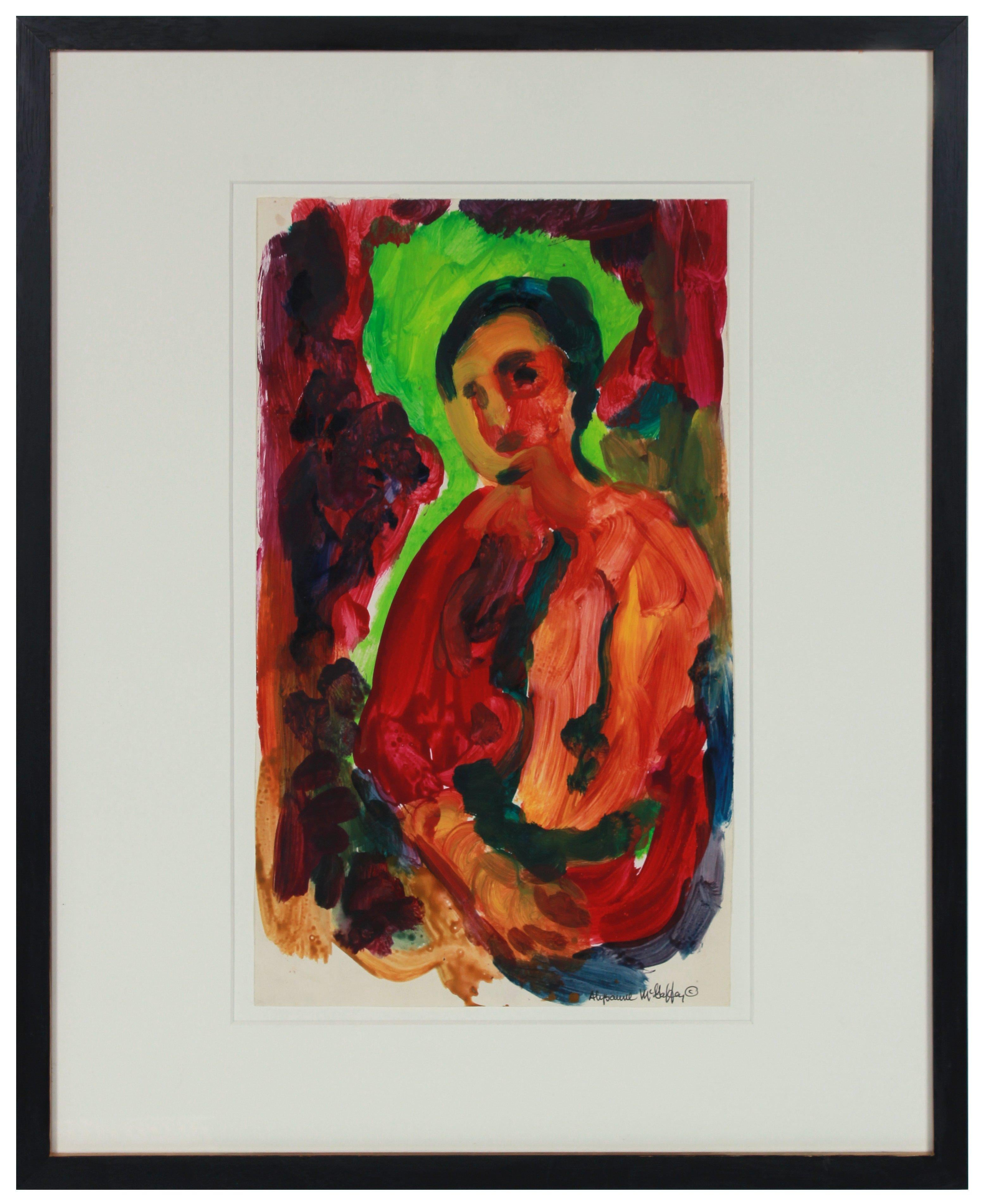 Saturated Red Bay Area Figure 1950-60s Distemper Painting