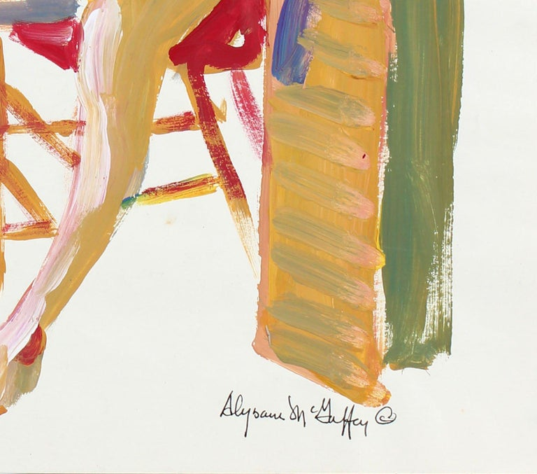 Vibrant Bay Area Figurative Seated Nude 1950-60s Distemper Painting - Beige Portrait Painting by Alysanne McGaffey
