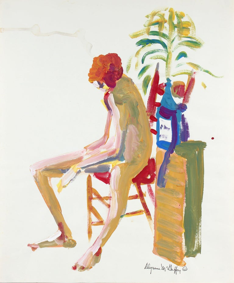 Alysanne McGaffey Portrait Painting - Vibrant Bay Area Figurative Seated Nude 1950-60s Distemper Painting