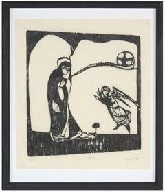 """Annunciation""  Woodcut Print, 1967"