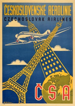 Original Vintage Poster Czechoslovak Airlines Eiffel Tower Empire State Building