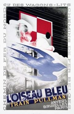 1989 A.M. Cassandre 'L'Oiseau Bleu' Vintage Red,White,Blue France Lithograph