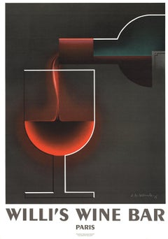2005 A.M. Cassandre 'Willi's Wine Bar' Vintage Black,Red France Lithograph