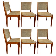Am Møbler Denmark Set of Six Chairs, Teak and Tweed, from the 70s'