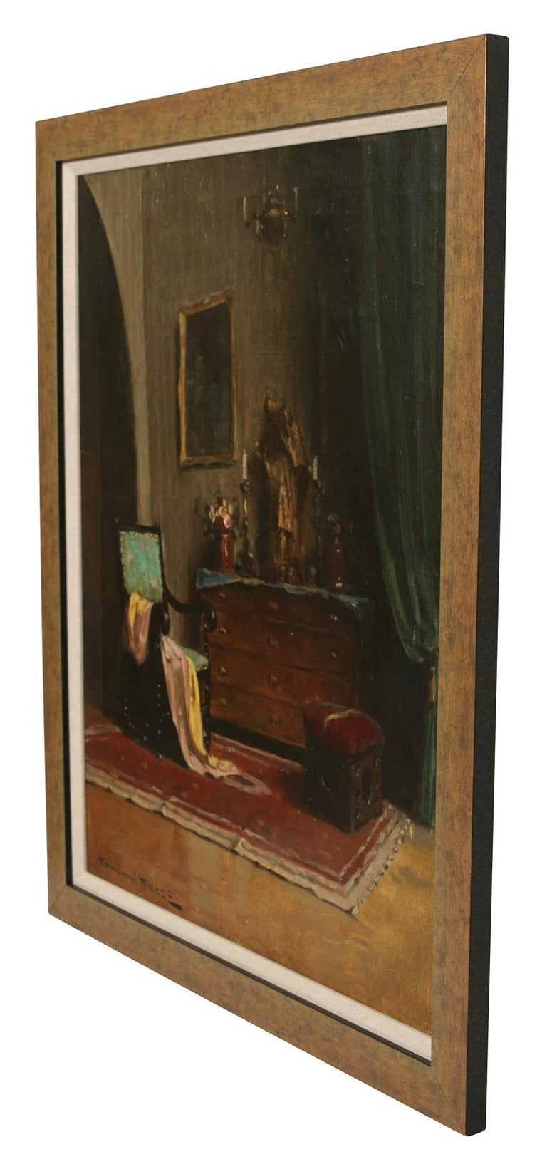 20th Century Am Oil Painting of an Interior by a Hungarian Artist For Sale