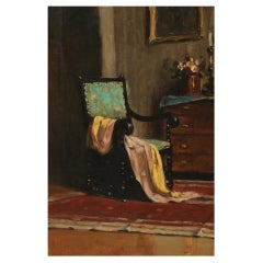 Am Oil Painting of an Interior by a Hungarian Artist