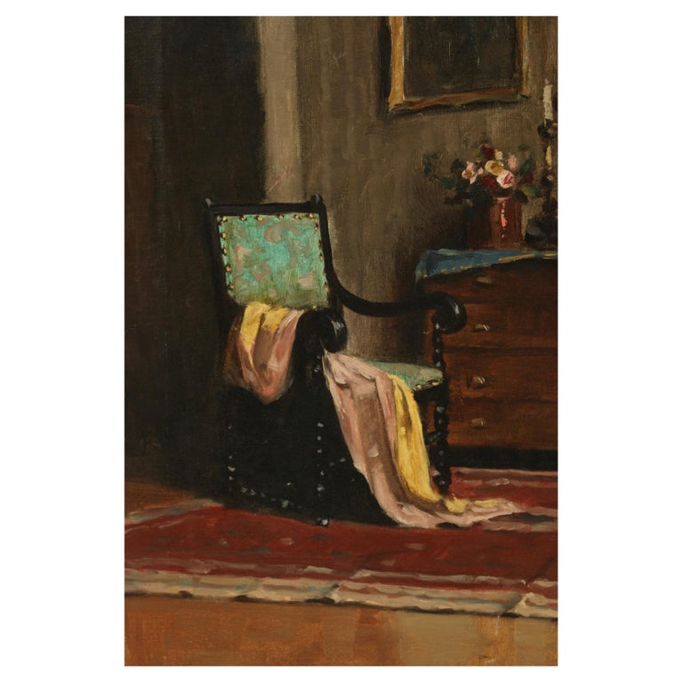 Am Oil Painting of an Interior by a Hungarian Artist For Sale