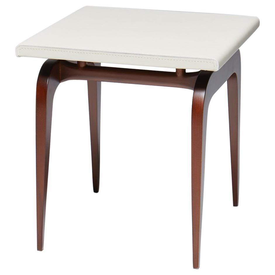 Side Table, AMA by Reda Amalou. Elegant corner table, Leather and Walnut