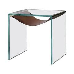 Amaca Side Table in Leather & Glass Tonelli Design Designed By Calvi & Brambilla